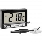27137 Eufab Hőmérő Bel- és kültéri hőmérséklet, 12/24 órás kijelzés -50 ... +70 °C
