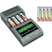 Ceruza AA, mikroceruza AAA automata akkumulátor töltő, regeneráló akkutöltő állomás, NiZn, NiCd, NiMh akkukhoz Voltcraft Charge Manager 410+4db AA NiZn és 4db