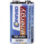 9V akku NiMH 8,4 V 160 mAh, Conrad Energy 6LR61, HR6F22, HR9V, HR22, 6LR21, 6AM6, 6LP3146, MN1604, E Block