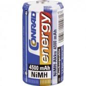 Baby akku C NiMH, 1,2V 4500 mAh, Conrad Energy LR14, LR15, C, AM2, MN1400, 814, E93, LR14N, UM2