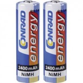 Ceruza akku AA, NiMH, 1,2V 2400 mAh, 2 db, Conrad Energy LR06, AA, LR6, AAB4E, AM3, 815, E91, LR6N