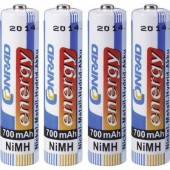 Mikroceruza akku AAA NiMH, 1,2V 700 mAh, 4 db, Conrad Energy HR3, HR03, UO100557, DC2400, DC2400B4N, LR03