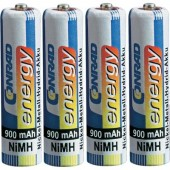 Mikroceruza akku AAA NiMH, 1,2V 900 mAh, 4 db, Conrad Energy HR3, HR03, UO100557, DC2400, DC2400B4N, LR03