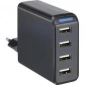 Hálózati USB töltő adapter 4 USB aljzattal 100-240V/AC 5V/DC max. 4800mA Voltcraft SPS-4800/4