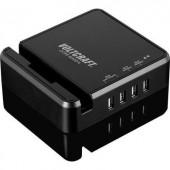 Hálózati USB töltőállomás, USB Hub dokkoló 4 USB aljzattal 100-240V/AC 5V/DC max. 6A Voltcraft DTPS-6000/4
