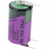 1/2 AA lítium elem, forrasztható, 3,6V 1100 mAh, forrfüles, 15 x 25 mm, Tadiran SL750PT