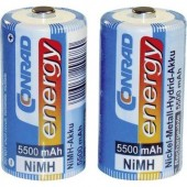 Baby akku C NiMH, 1,2V 5500 mAh, 2 db, Conrad Energy LR14, LR15, C, AM2, MN1400, 814, E93, LR14N, UM2