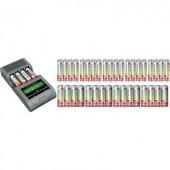 Ceruza AA, mikroceruza AAA NiZn automata akkumulátor töltő, regeneráló akkutöltő állomás Voltcraft Charge Manager 410+20db AA, 20db AAA akkuval