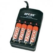 Töltőkészülék 4 db NImH2700 mAh-s ceruzaakkuval 20722009 ARC-2009