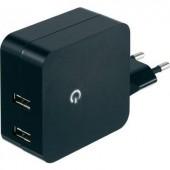 Hálózati USB töltő adapter, 2 USB aljzattal 100-240V/AC 2 x 2400 mA VOLTCRAFT SPS-2400/2+