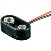 9V-os elem csatlakozó, fröccsenő víz ellen védett 26 x 13 x 8 mm Goobay 10882