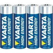 Ceruzaelem AA, alkáli mangán, 1,5V, 4 db, Varta High Energy LR06, AA, LR6, AAB4E, AM3, 815, E91, LR6N