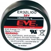 1/6 D lítium elem, 3,6V 1700 mAh, 32,9 x 15,5 mm, EVE ER32L100