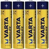 Mikroelem AAA, alkáli mangán, 1,5V, 4 db, Varta Longlife LR03, AAA, LR3, AM4M8A, AM4, S