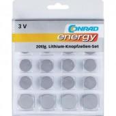 Lítium gombelem készlet  20 db  Conrad Energy 2xCR1025/CR1620/CR1632/CR2016/CR2430/CR2450  4xCR2025/CR2032