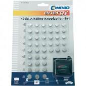 Alkáli gombelem készlet elemteszterrel, 42 db, Conrad Energy, 6xAG1/12xAG3/6xAG4/9xAG10/3xAG12/6xAG13