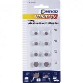 Alkáli gombelem készlet  10 db  Conrad Energy  2xAG1/AG3/AG5/AG12  1XAG13/AG4