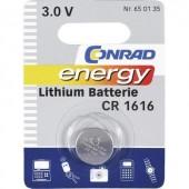 CR1616 lítium gombelem, 3 V, 45 mA, Conrad Energy BR1616, DL1616, ECR1616, KCR1616, KL1616, KECR1616, LM1616