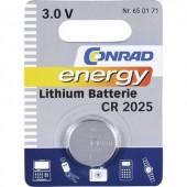 CR2025 lítium gombelem, 3 V, 140 mAh, Conrad Energy BR2025, DL2025, ECR2025, KCR2025, KL2025, KECR2025, LM2025