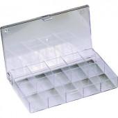 10 részes alkatrésztároló doboz, átlátszó, 164 x 101 x 31 mm