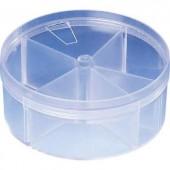 5 részes kerek alkatrésztároló doboz, átlátszó RD4 Strapubox