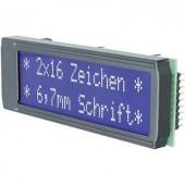 Alfanumerikus LCD DOT-mátrix kijelző modul 2x16, számmagasság: 6,68 mm, kék/fehér, EA DIP162-DN3LW