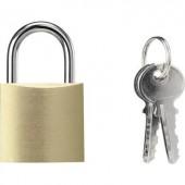 Függő lakat 32 mm Basetech 1619408 Sárgaréz Kulcsos zár