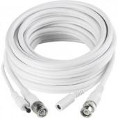 Táp és video hosszabbítókábel, 1x BNC dugó, DC alj, 5,5 mm - 1x BNC dugó, DC dugó, 5,5 mm, 20 m, fehér, Sygonix 43127A