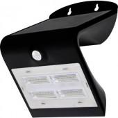 Napelemes kültéri fali lámpa mozgásérzékelővel, 3,2W, fekete, DioDor 3,2W-B