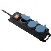 Kapcsolós elosztó világítós 3 részes, fekete/kék, 1,5 m, IP44, AS Schwabe 38603