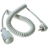 Hálózati spirálkábeles hosszabbítókábel, fehér, 2,5 m, HO5VV-F 3 G 1,5 mm², AS Schwabe 70412