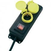 Kapcsolós hálózati elosztó, 2 részes, fekete/sárga, felcsavarozható