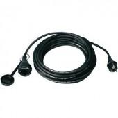 Kültéri, gumi hálózati hosszabbítókábel védőkupakkal, fekete, 10 m, H07RN-F 3G 1,5 mm², 346.310-CO