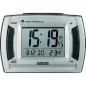 Eurochron EFW 9001 rádiójel vezérelt digitális ébresztőóra hőmérővel, 130x90x50 mm, ezüst, RC236