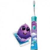 Szónikus elektromos gyermek fogkefe, fehér/színes, Philips Sonicare HX6322/04