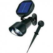 Napelemes, falra szerelhető/leszúrható LED-es kerti spotlámpa, 2 x 1,2 V 900 mAh, IP44, fekete, Esotec 102138
