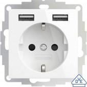 2USB 2U-449276 Süllyeszthető dugalj VDE, USB-vel, Gyermekvédelem IP20 Tiszta fehér, Fényes effekt