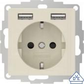 2USB 2U-449290 Süllyeszthető dugalj VDE, USB-vel, Gyermekvédelem IP20 Krém-fehér, Fényes effekt