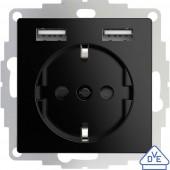 2USB 2U-449313 Süllyeszthető dugalj VDE, USB-vel, Gyermekvédelem IP20 Fekete