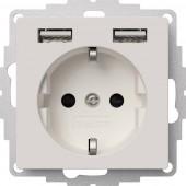2USB 2U-449337 Süllyeszthető dugalj VDE, USB-vel, Gyermekvédelem IP20 Tiszta fehér, Matt