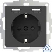 2USB 2U-449351 Süllyeszthető dugalj VDE, USB-vel, Gyermekvédelem IP20 Antracit