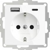 2USB 2U-449528 Földelt csatlakozó aljzat USB töltőkimenettel, Gyermekvédelem, VDE IP20 Tiszta fehér (selymesen matt)