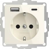 2USB 2U-449535 Földelt csatlakozó aljzat USB töltőkimenettel, Gyermekvédelem, VDE IP20 Krém-fehér