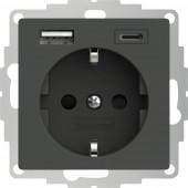 2USB 2U-449542 Földelt csatlakozó aljzat USB töltőkimenettel, Gyermekvédelem, VDE IP20 Antracit