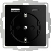 2USB 2U-449559 Földelt csatlakozó aljzat USB töltőkimenettel, Gyermekvédelem, VDE IP20 Fekete