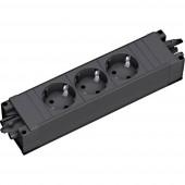 3 részes Dugalj modul kapcsoló nélkül Fekete Bachmann 2637460