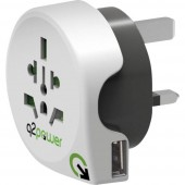 Q2 Power 1.100130 Úti adapter World to Great Britain with USB
