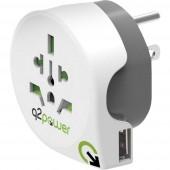 Q2 Power 1.100150 Úti adapter Welt nach USA mit USB