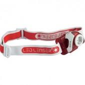 LED-es fejlámpa, elemes, 2 LED 180 lm 120 m 25 óra 105 g, piros, Ledlenser SEO 5 6106