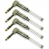 6,3 sztereo jack dugó készlet (könyök) törésgátlóval, 4 db, fém, Paccs